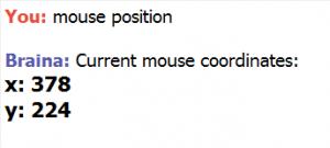 show mouse coordinates